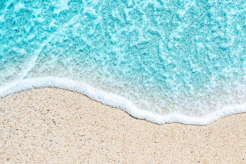 Sea Beach and Soft wave of blue ocean. Summer day and sandy bea. Ch background stock photography