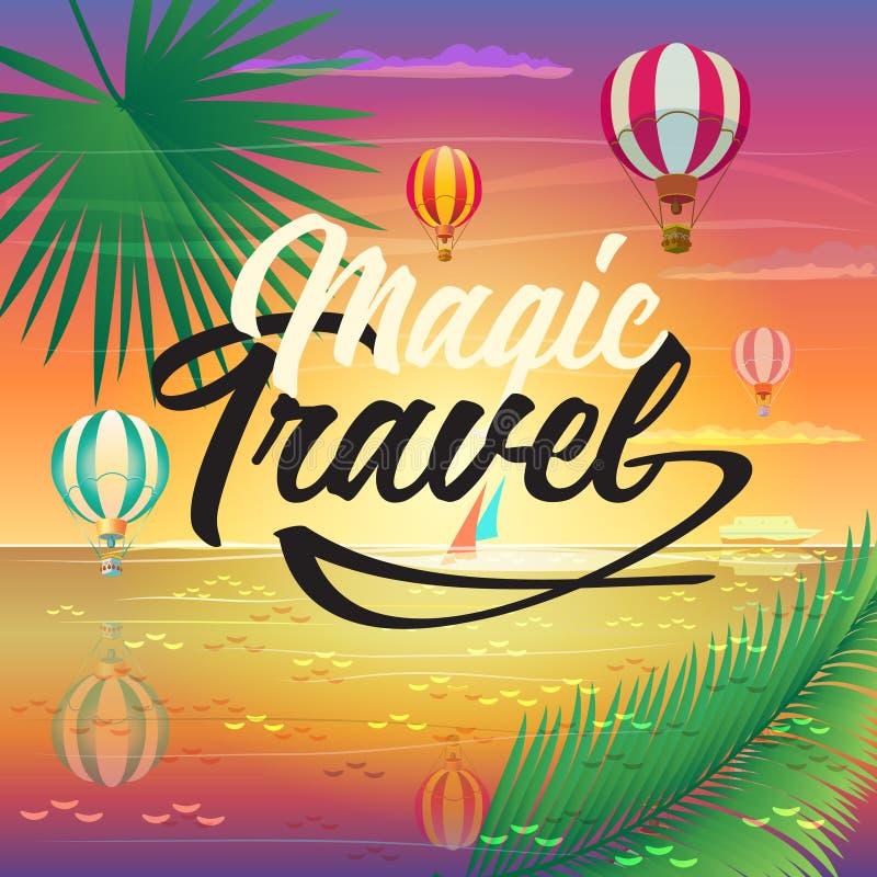 Sea Beach Summer Voyage adventure hot air balloons. Summer sunset Paradise Tropical sea beach landscape painting poster. Magic Travel logo, hot air balloons, sky stock illustration