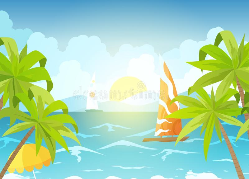 Sea beach and sun loungers. Seascape, vacation banner with sailing ships, palms and clouds. Cartoon vector illustration royalty free illustration