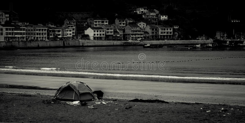 Sea beach tent royalty free stock photo