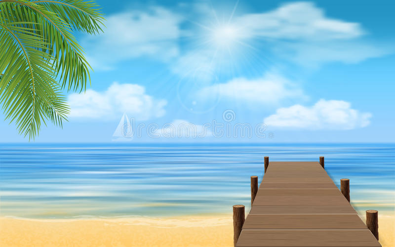 Sea beach and wooden jetty. Bridge made of wooden planks on the sea beach royalty free illustration