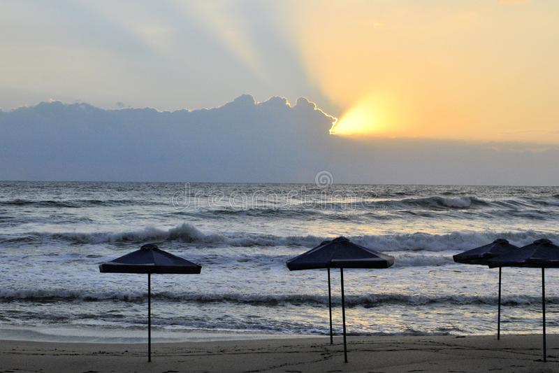 Sea beautiful landscape sunset empty beach  horizon clouds. Sea beautiful waves landscape sunset empty beach  horizon clouds travel vacation royalty free stock photography