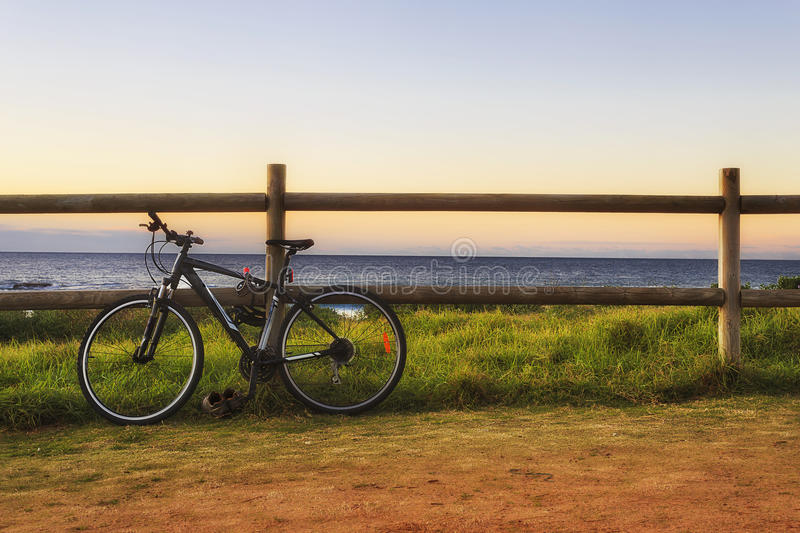 Sea bicycle fence royalty free stock photography
