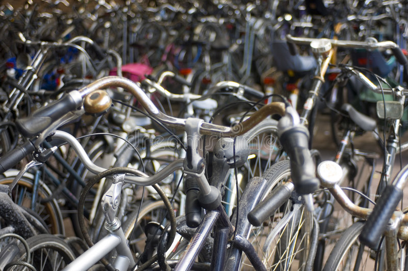 A sea of bicycles royalty free stock photo