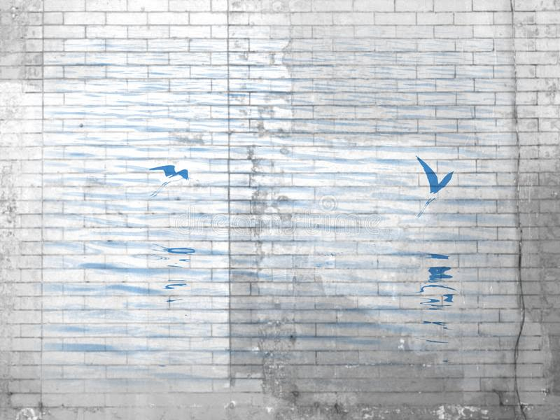 Sea Birds Over Water In Brick Pattern. royalty free stock photography