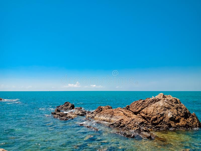 Sea with blue sky stock photography