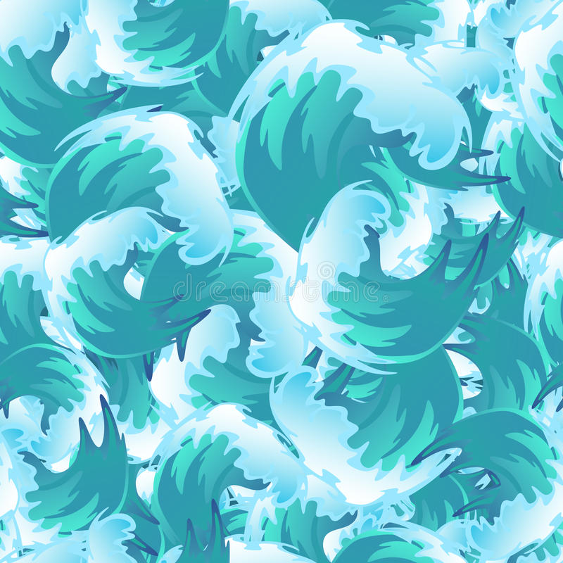 Sea blue water wave seamless pattern, ocean border background design element for banner or greeting card, decoration royalty free illustration