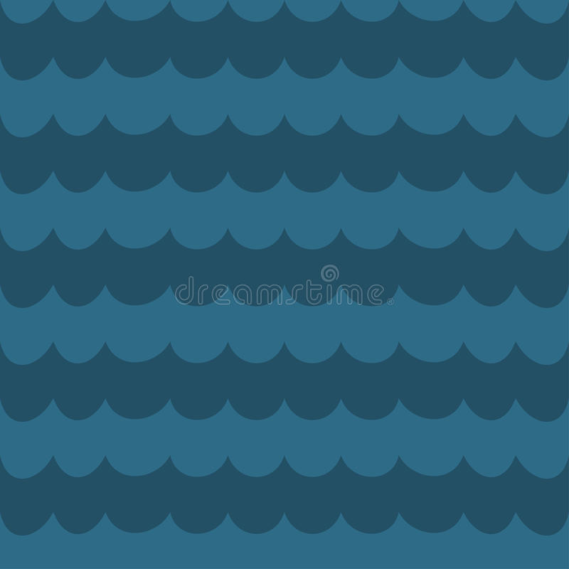 Sea blue wave background, wavy seamless pattern, royalty free illustration