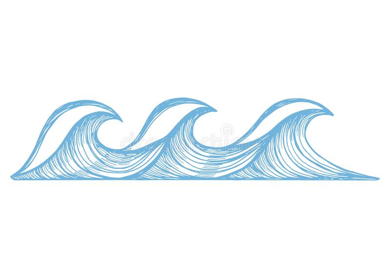 Sea blue waves with foam sketch. vector illustration hand drawing vector illustration