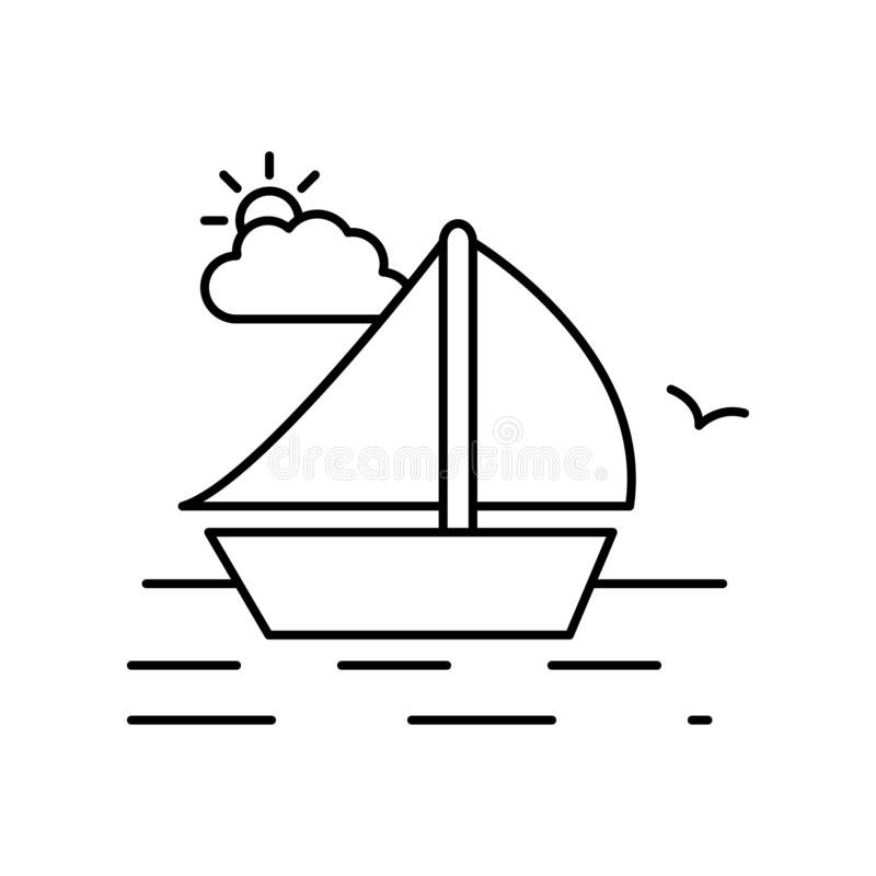Sea boat water landscape line icon. Element of landscapes icon. On white background royalty free illustration