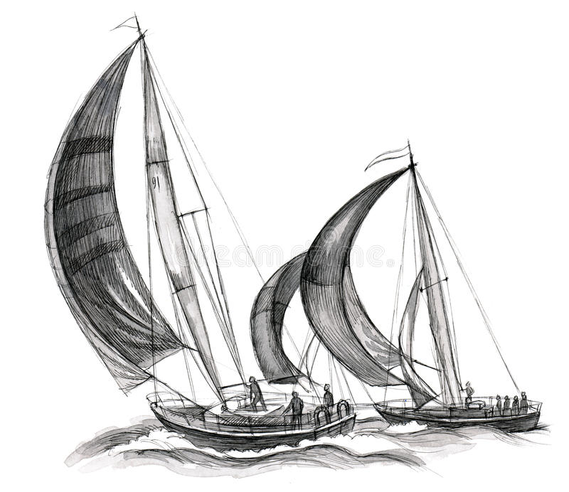 Sea boats. Two sailing ships on white background stock illustration