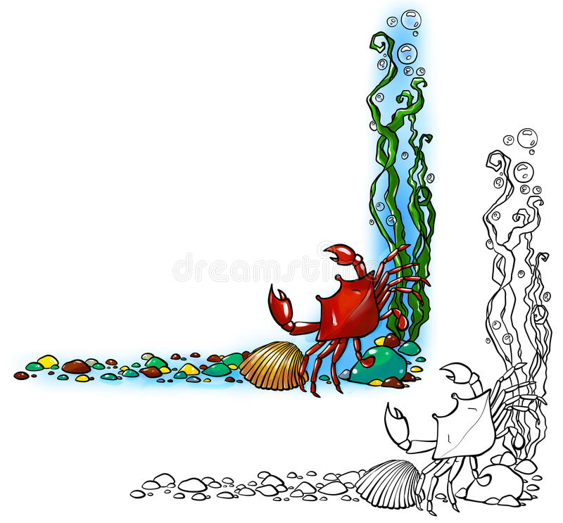 Sea border with crab and shell. Sea border with red crab in the corner, shell, algae, colorful peebles and translucent bubbles. Comes in two versions: line art royalty free illustration