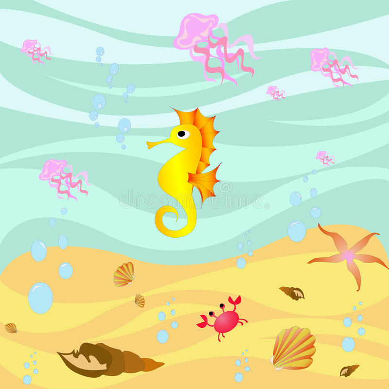 Sea bottom. Marine creatures in underwater landscape vector illustration