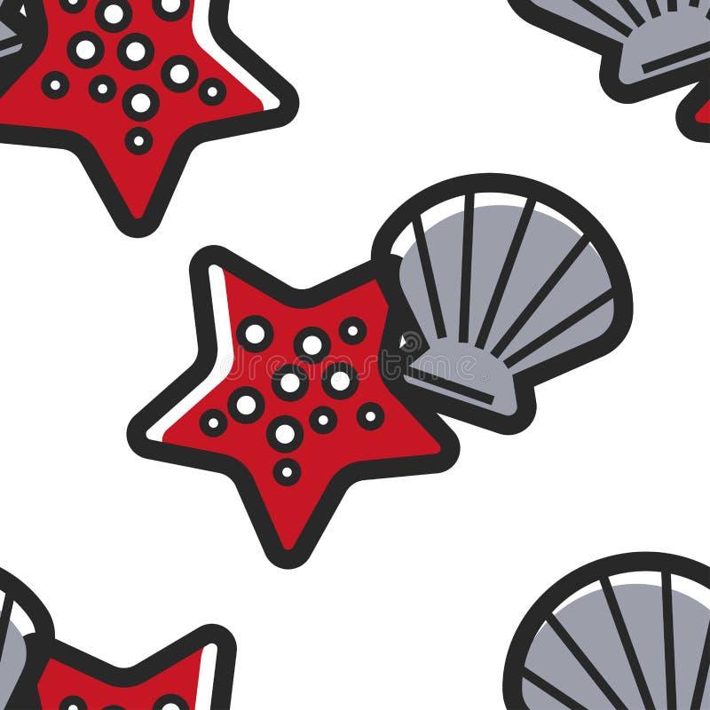 Shellfish and starfish Cuban sea bottom seamless pattern vector illustration
