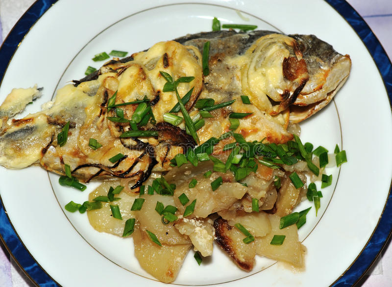 Sea bream cooking on the plate stock photo