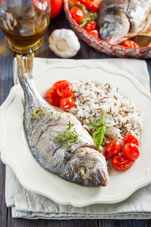 Sea bream/Dorado baked with tomato confit and rice royalty free stock images