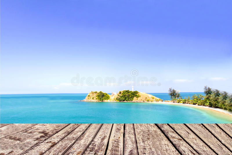 Sea and bridge wooden plank beside tropical beach. Beautiful royalty free stock photography