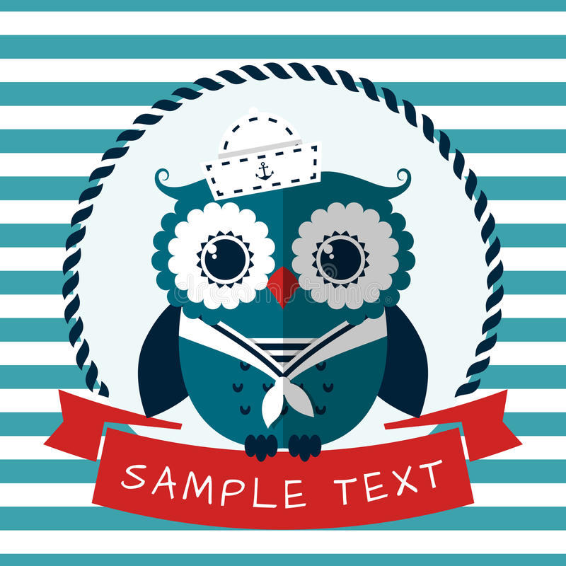 Sea card with sailor owl. Vector illustration. royalty free illustration
