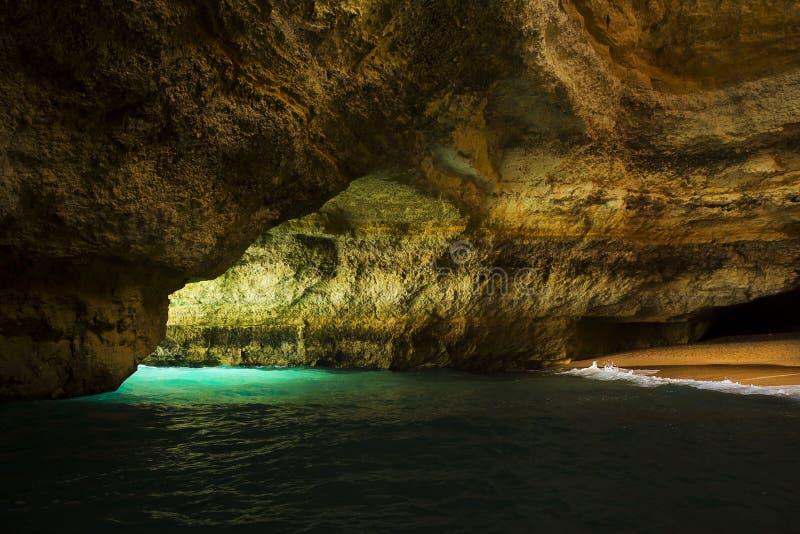 Sea cave on the Algarve coast, Portugal royalty free stock photos