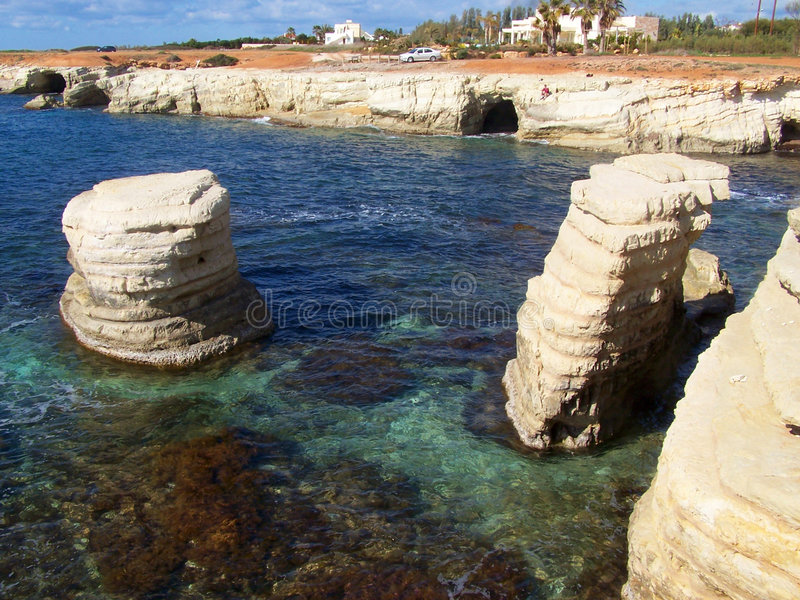 Sea Caves, Cyprus. stock photo