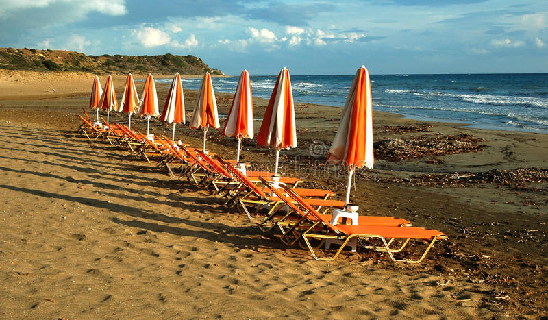 Download Sea chairs on the beach stock photo. Image of sand, island - 23702040