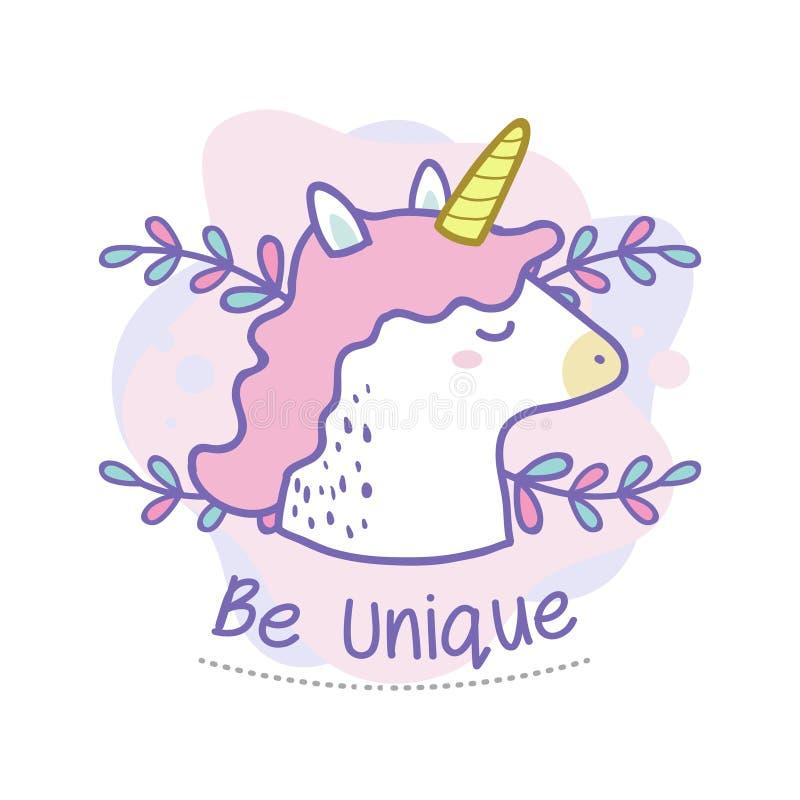 Sea cita única del garabato lindo del unicornio aislado en blanco stock de ilustración