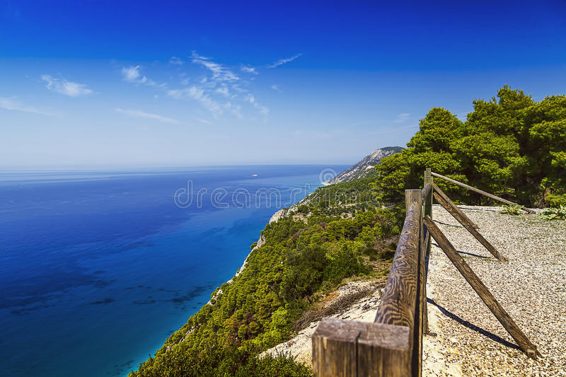 Sea Cliff With Fence, Viewpoint Royalty Free Stock Photos