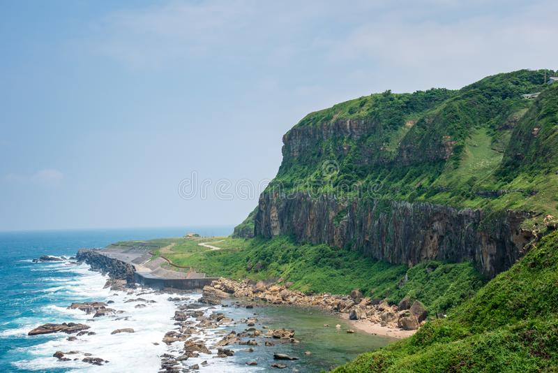 Sea Cliffs of the Sea-eroded Terrain of Badouzi in Keelung, Taiwan. royalty free stock photo