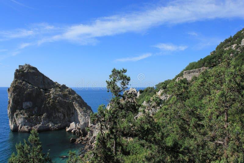 Sea and cliffs. Mountain Diva and the Black Sea in Crimea, Ukraine royalty free stock image