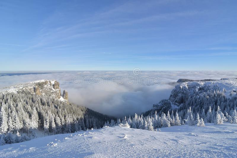 Sea of clouds in the mountain in winter season.  stock photos
