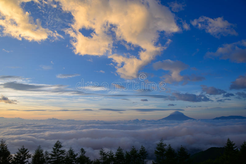 Sea of Clouds and the Mt. Fuji. Sea of ​​clouds and Mt. Fuji, view from photo place at Mt. Amari in the early morning stock photography