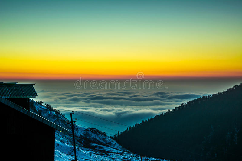 Sea of clouds nathang vally sikkim india stock photo