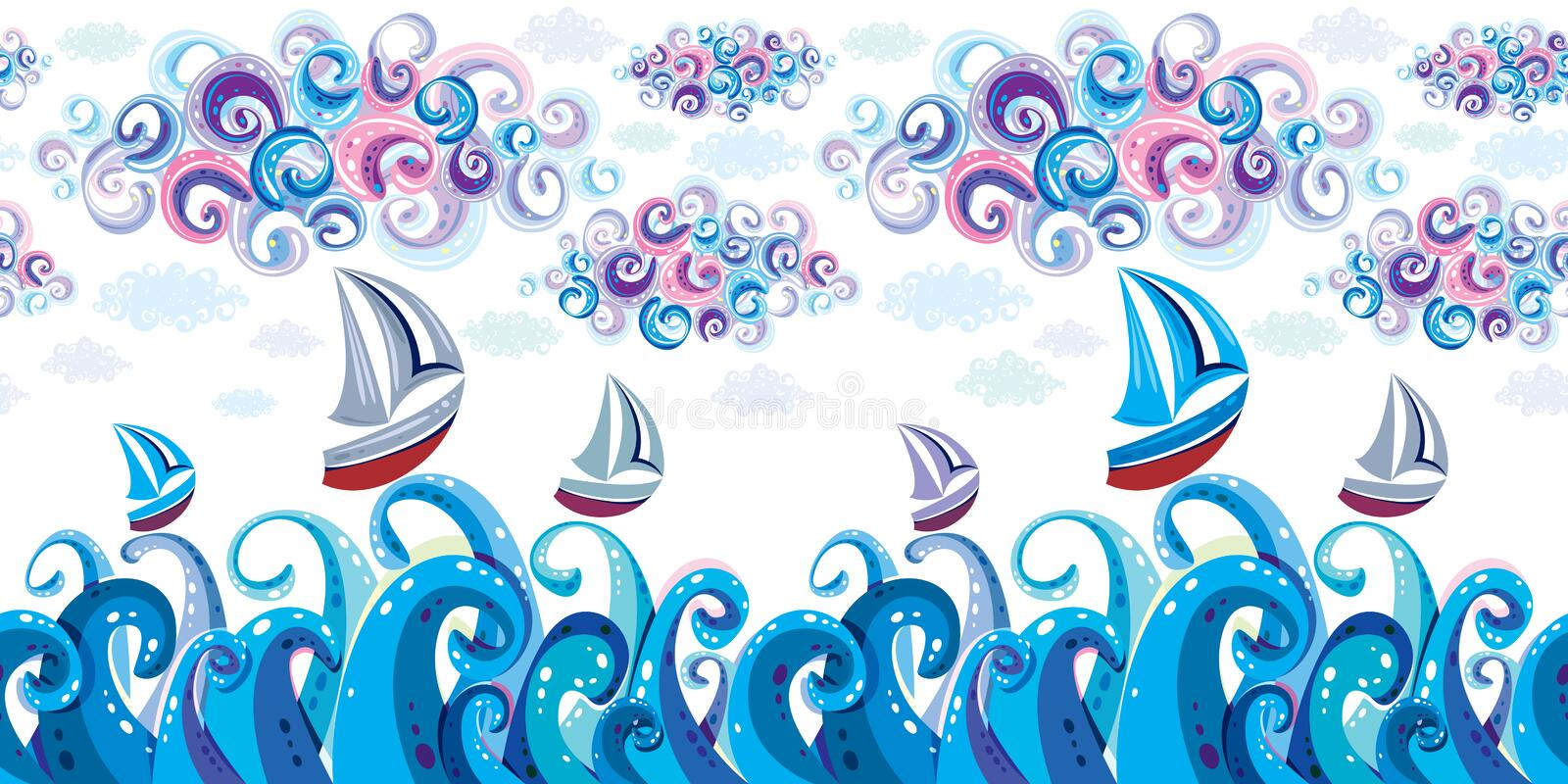 Sea, clouds and yachts on waves. vector illustration