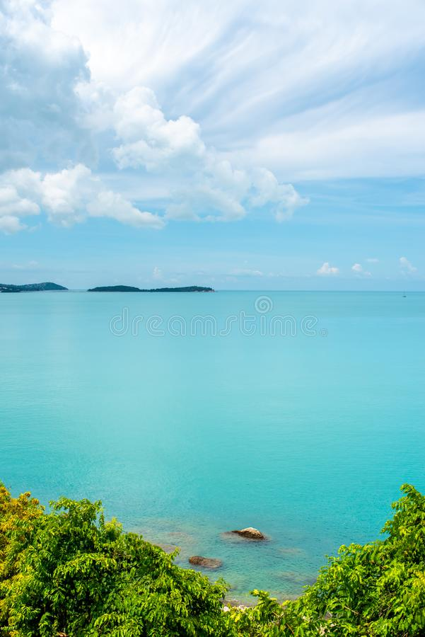 Sea and cloudy blue sky stock photo