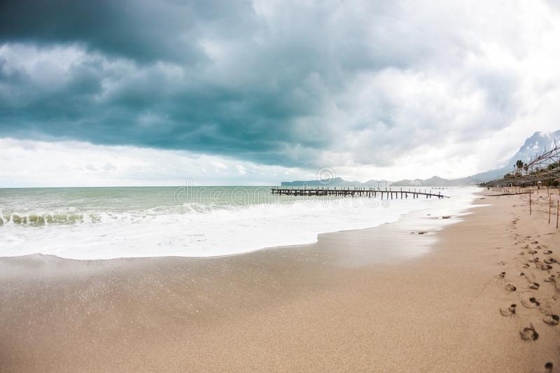 Sea on a cloudy day royalty free stock photography