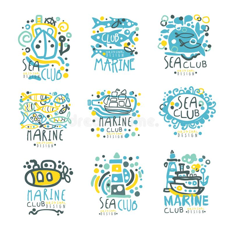 Sea club set for label design. Yacht club, sailing sports or marine travel hand drawn colorful vector Illustrations vector illustration