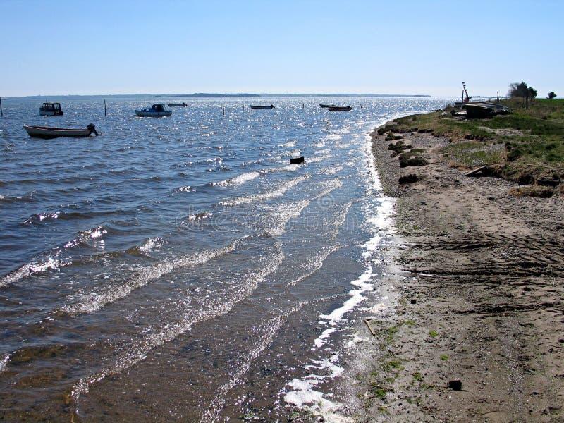 Sea coast beach Funen Denmark. Small fishing port coast beach Funen Denmark royalty free stock photography