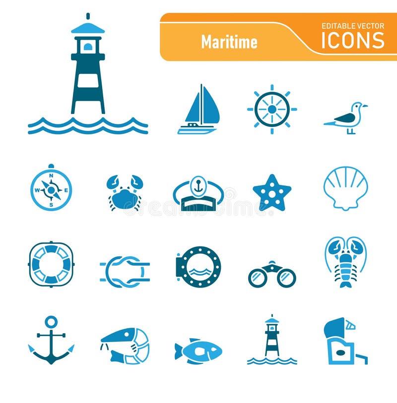 Sea & Coast - Editable Vector Icons royalty free stock photos