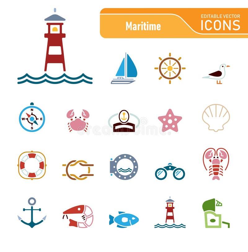Sea & Coast - Editable Vector Icons royalty free stock photography