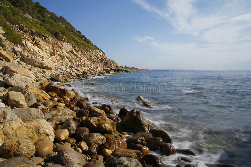 Sea coast in Salou, Spain stock image