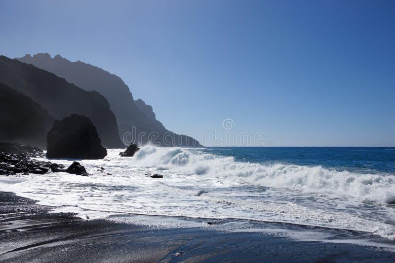 Sea with coastline on La Gomera. Sea with rocky coastline at Playa del Trigo, La Gomera, Canary Islands, Spain royalty free stock photography