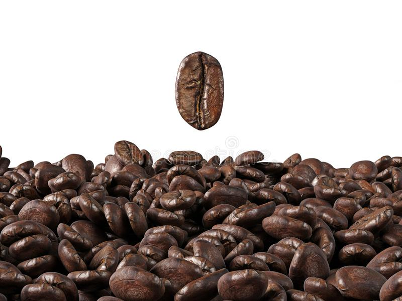 A sea of coffee beans on a white background. stock illustration