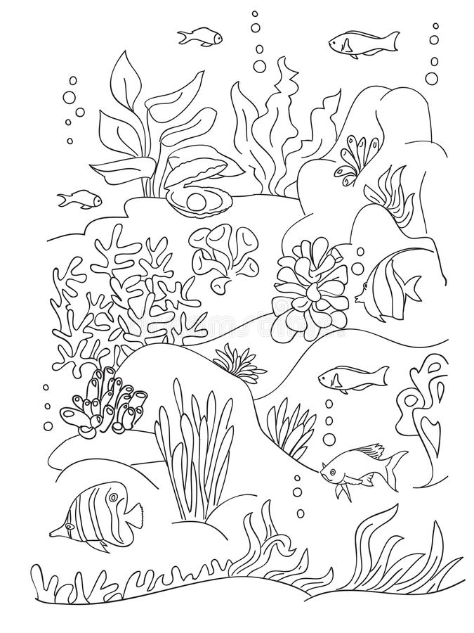 download sea coloring book page stock vector image of fish nature 81630706
