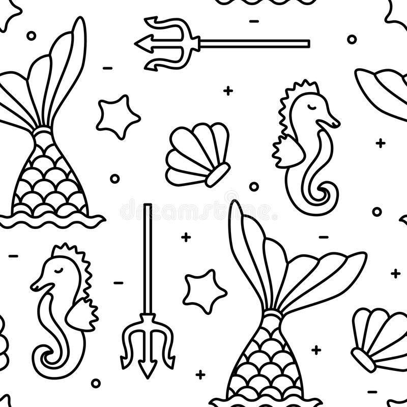 Sea concept black outline seahorse mermaid seamless pattern vector illustration