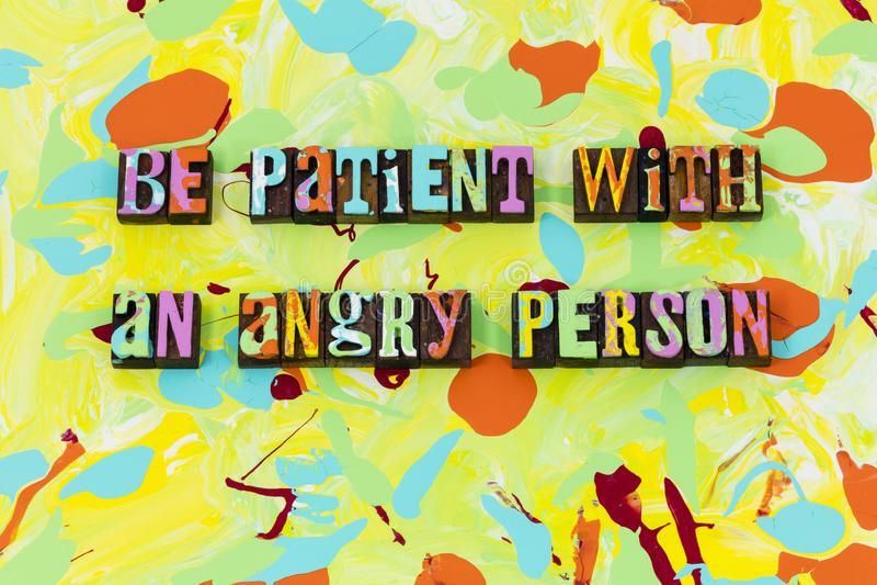 Sea confianza enojada paciente de la honradez de la virtud de la paciencia de la persona ilustración del vector