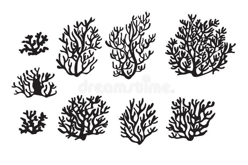 Set of corals for underwater scene. Sea corals and seaweed. Underwater and aquarium plant silhouettes. Black and white esign elements for sea bottom scene stock illustration