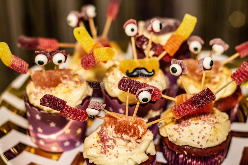 Sea Creature Cup Cakes with Googly eyes stock photo