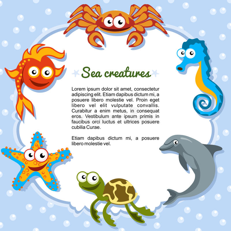 Sea creatures forming a frame royalty free illustration