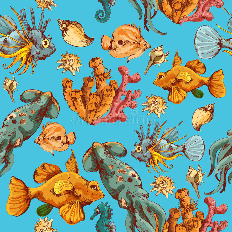 Sea creatures sketch colored seamless pattern royalty free illustration