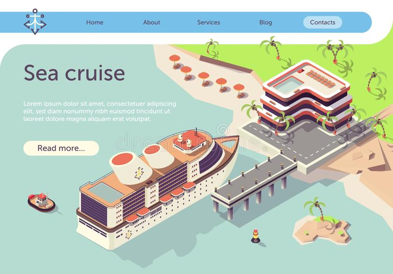 Sea Cruise Ship Travel in Tropical Country Banner stock illustration